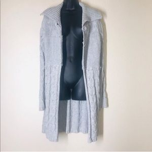 One A Long gray button down knit cardigan